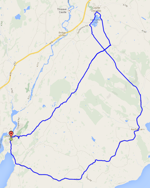Galloway ReCycle Sportive Short Route Map